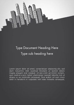 Downtown Silhouette Word Template, Cover Page, 11811, Construction — PoweredTemplate.com