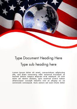 Globe and USA Flag Word Template, Cover Page, 11843, America — PoweredTemplate.com