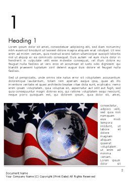 Globe and USA Flag Word Template, First Inner Page, 11843, America — PoweredTemplate.com