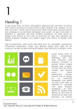 Flat Icons Design Word Template, First Inner Page, 11854, Careers/Industry — PoweredTemplate.com