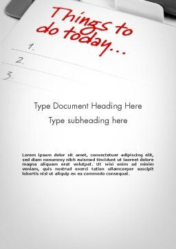Things To Do List Word Template, Cover Page, 11861, Business Concepts — PoweredTemplate.com