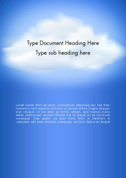 Fluffy Cumulus Cloud Word Template, Cover Page, 11881, Nature & Environment — PoweredTemplate.com