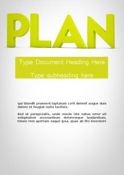 Word PLAN Word Template, Cover Page, 11882, Business Concepts — PoweredTemplate.com