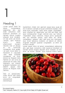 Cranberries Word Template, First Inner Page, 11888, Food & Beverage — PoweredTemplate.com