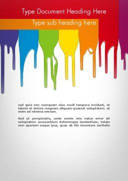 Paint Spills Word Template, Cover Page, 11912, Art & Entertainment — PoweredTemplate.com