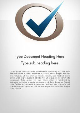 Blue Tick Word Template, Cover Page, 11913, Education & Training — PoweredTemplate.com