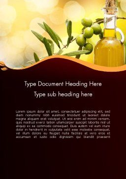 Olives and Oil Word Template, Cover Page, 11916, Food & Beverage — PoweredTemplate.com