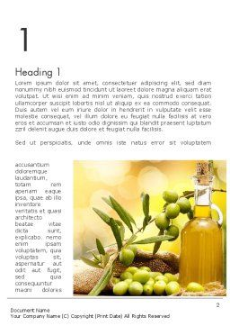 Olives and Oil Word Template, First Inner Page, 11916, Food & Beverage — PoweredTemplate.com