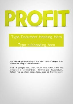 Word PROFIT Word Template, Cover Page, 11925, Financial/Accounting — PoweredTemplate.com