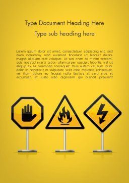 Warning Symbols Word Template Cover Page