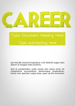 Word CAREER Word Template, Cover Page, 11947, Careers/Industry — PoweredTemplate.com