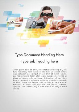 Abstract Business Theme Word Template, Cover Page, 11955, Business — PoweredTemplate.com