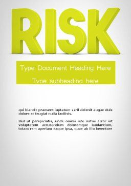 Word RISK Word Template, Cover Page, 11964, Consulting — PoweredTemplate.com