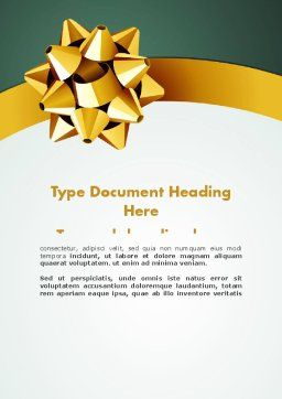 Gold Ribbon Word Template, Cover Page, 11979, Holiday/Special Occasion — PoweredTemplate.com