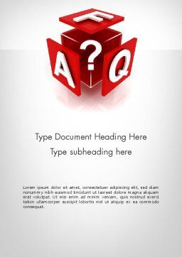 FAQ Cube Word Template, Cover Page, 11987, Education & Training — PoweredTemplate.com