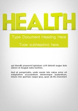 Word HEALTH Word Template, Cover Page, 11995, Medical — PoweredTemplate.com