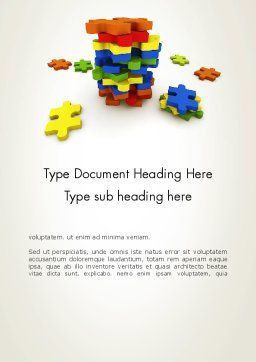 Pile of Puzzle Pieces Word Template, Cover Page, 12001, Business Concepts — PoweredTemplate.com