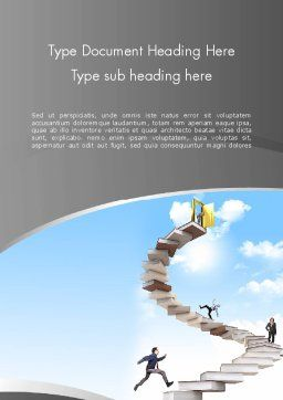 People On Book Stair Word Template, Cover Page, 12008, Education & Training — PoweredTemplate.com