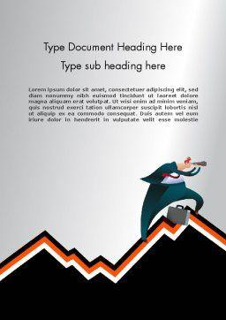Businessman Climbing Graph Word Template, Cover Page, 12017, Education & Training — PoweredTemplate.com