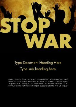 Stop War Word Template, Cover Page, 12042, General — PoweredTemplate.com