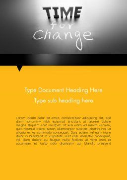 Time for a Change Word Template, Cover Page, 12063, Consulting — PoweredTemplate.com