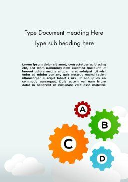 Colorful Cogs Word Template, Cover Page, 12075, Education & Training — PoweredTemplate.com