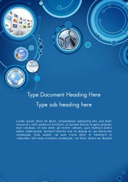 Blue Rings Business Theme Word Template, Cover Page, 12082, Business — PoweredTemplate.com