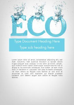 Water Ecology Word Template Cover Page
