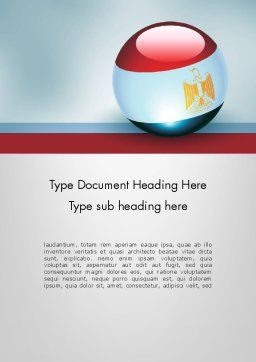 Ball With Flag Of Egypt Word Template Cover Page