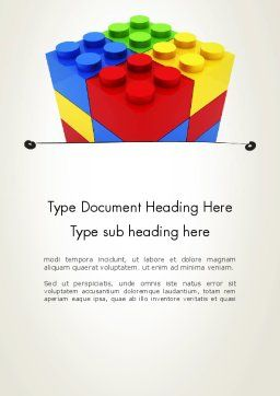 Stacked Lego Blocks Word Template, Cover Page, 12116, Business Concepts — PoweredTemplate.com