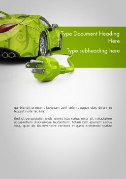 Green Automotive Innovations Word Template, Cover Page, 12118, Cars/Transportation — PoweredTemplate.com