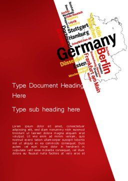 Germany Map and Cities Word Cloud Word Template, Cover Page, 12177, Flags/International — PoweredTemplate.com