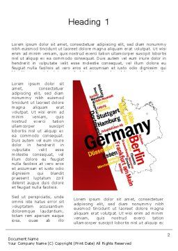 Germany Map and Cities Word Cloud Word Template First Inner Page