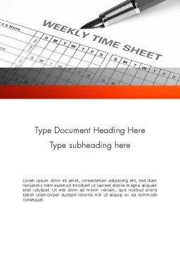 Time Tracking Sheet Word Template, Cover Page, 12194, Business — PoweredTemplate.com
