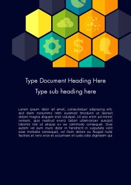 Hexagons with Icons Word Template, Cover Page, 12199, Business Concepts — PoweredTemplate.com