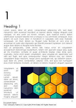 Hexagons with Icons Word Template, First Inner Page, 12199, Business Concepts — PoweredTemplate.com