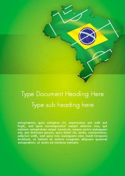 Brazil Flag Map with Football Field Word Template, Cover Page, 12200, Flags/International — PoweredTemplate.com