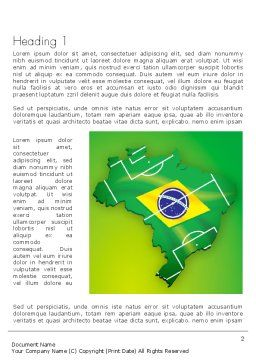 Brazil Flag Map with Football Field Word Template First Inner Page