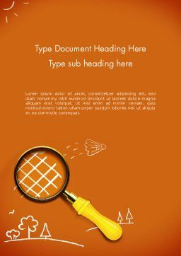 Racket with Magnifying Glass Word Template Cover Page