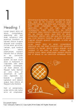 Racket with Magnifying Glass Word Template First Inner Page