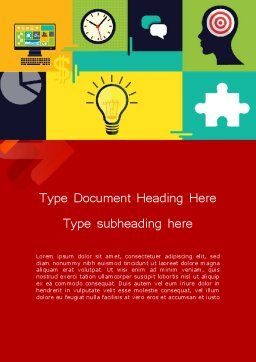 Flat Design Infographic Symbols Word Template, Cover Page, 12203, Business Concepts — PoweredTemplate.com