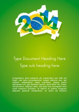 2014 Brazil World Cup Word Template, Cover Page, 12216, Holiday/Special Occasion — PoweredTemplate.com