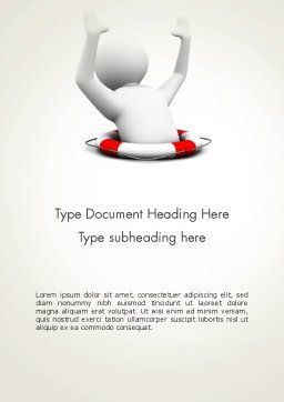 Drowning Man with Lifebuoy Word Template, Cover Page, 12221, Consulting — PoweredTemplate.com