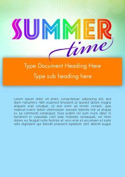 Summer Disco Theme Word Template, Cover Page, 12224, Holiday/Special Occasion — PoweredTemplate.com