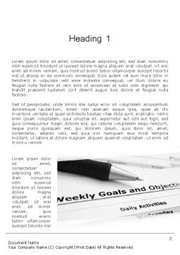 Goals and Objectives Word Template First Inner Page
