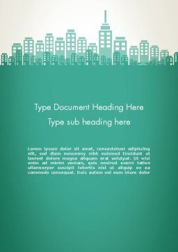 City Silhouette Word Template, Cover Page, 12236, Construction — PoweredTemplate.com