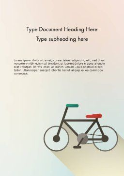 Bicycle Flat Icon Word Template, Cover Page, 12243, Sports — PoweredTemplate.com