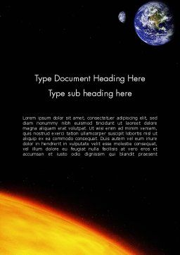 Earth and Sun Word Template, Cover Page, 12245, Technology, Science & Computers — PoweredTemplate.com