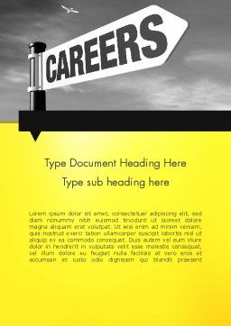 Careers Sign Word Template, Cover Page, 12253, Careers/Industry — PoweredTemplate.com