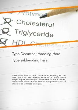 High Cholesterol Word Template, Cover Page, 12255, Medical — PoweredTemplate.com